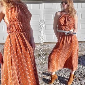 24hr SALE! ♡Pumpkin Pie Fall Boho Brick Maxi Dress